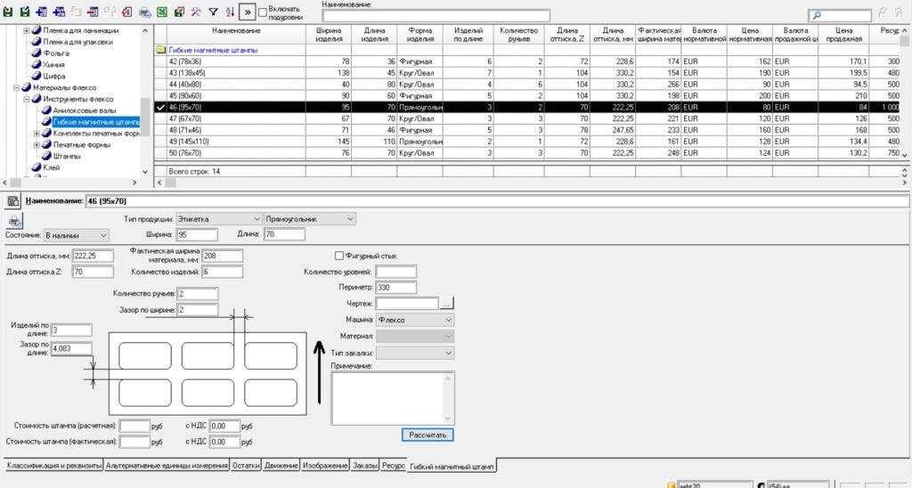Раскладки на листе от параметров оснастки